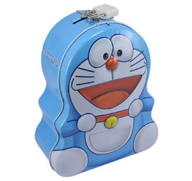 Doraemon Metal Money Bank With Lock & Handle Coin Bank - Blue