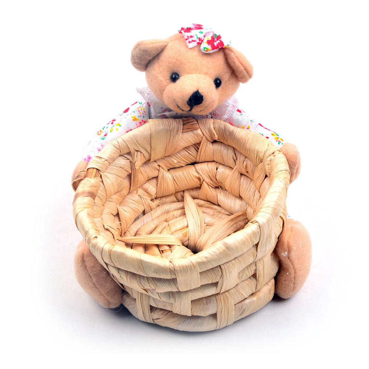 Cute Teddy Bear With Basket Pink Flowral