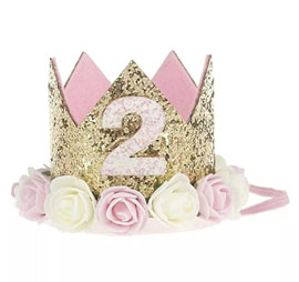 Ziory 2nd Birthday Crown Party Wear Head Band - Golden Pink