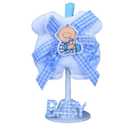 Baby Shower Favors Kit 12 Baby Dress With Stand Blue