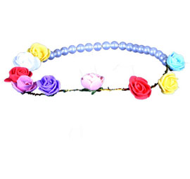 Flower Tiara With Beads - Multi Color