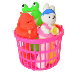 Squeezy Rattle Animals in Basket