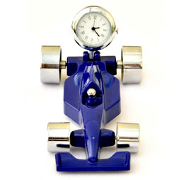 Race Car Paper Weight with Clock - Blue