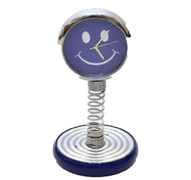 Smiley Metal Table Clock - Blue